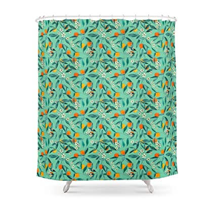Society6 Orange Summer In Green Shower Curtain 71quot