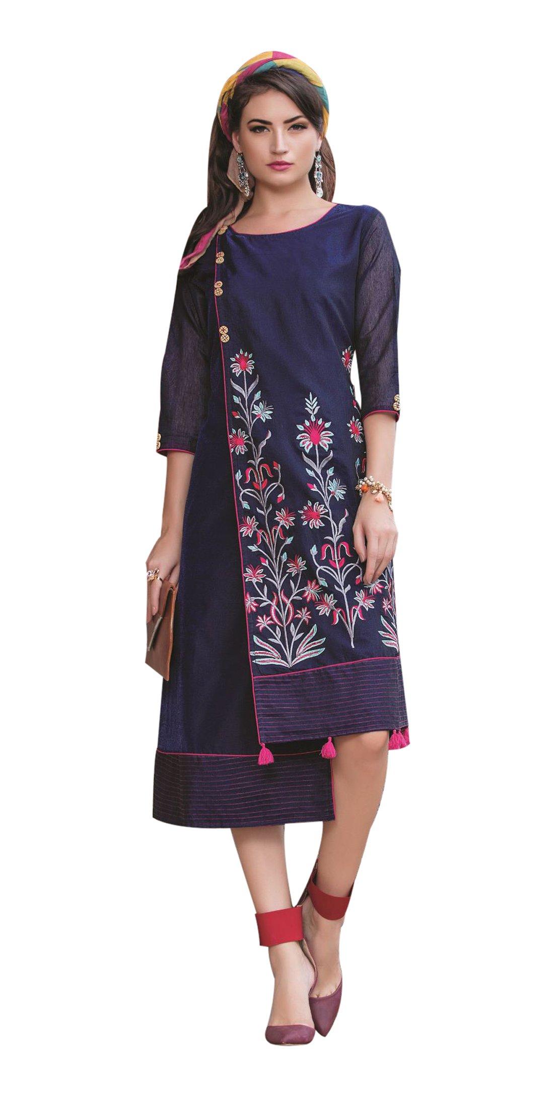 Urban India Women's Chanderi Silk Straight Embroidery Kurti Medium Blue