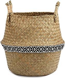 Woven Basket Seagrass Laundry Basket Natural Rattan Flower Basket Vase Planter Nursery Pot Belly Basket,Color as picture2,27 x 24 cm