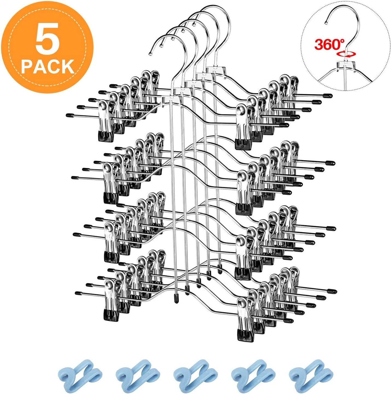 12 Clips Multilayer Skirt Pants Hangers Space Saving Metal Trousers Hangers