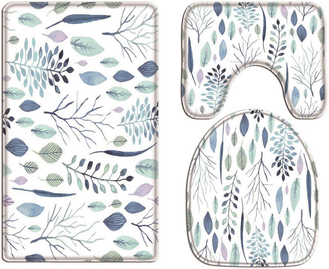 A.Monamour 3 Piezas Alfombrillas para Ba/ño Antideslizantes Franela Acuarela Hoja Flor Patr/ón Floral Blanco Fondos Arte WC Tapas de Inodoro Cubiertas de Cisterna