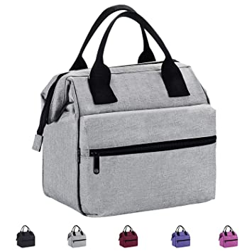 9771f92f2e5d Srise Lunch Box Insulated Lunch Bag For Men  Women Meal Prep Lunch Tote  Boxes For Kids   Adults(Grey)  Amazon.co.uk  Kitchen   Home