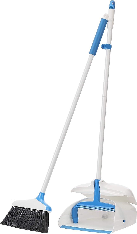 AmazonBasics Broom with Handled Dustpan, Blue and White