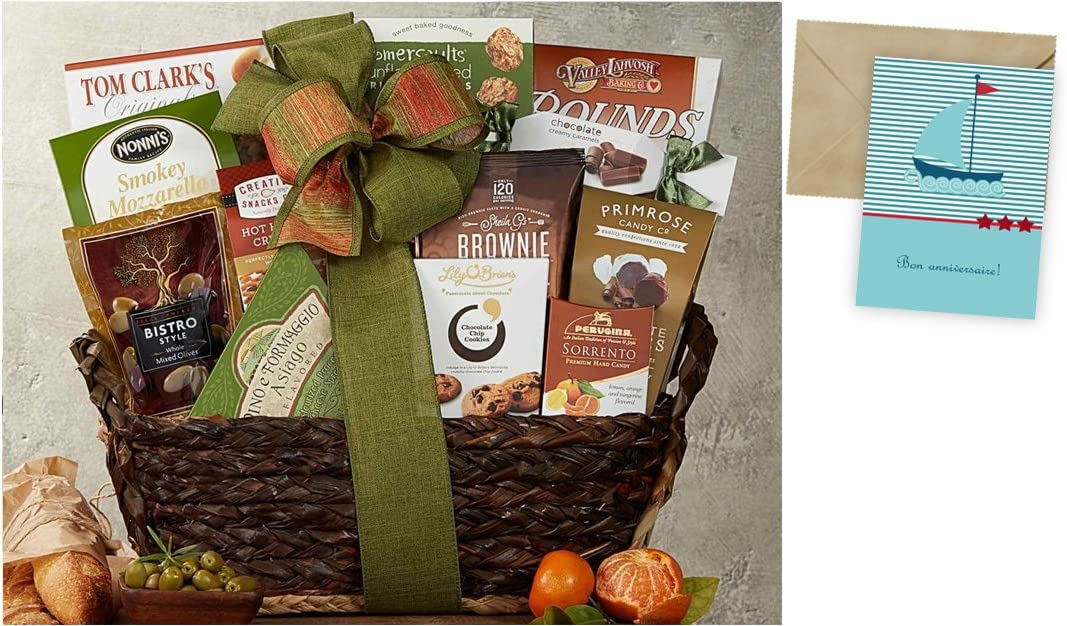 CD19053 Gourmet Choice Gift Basket for Birthday and personalized card mailed seperately