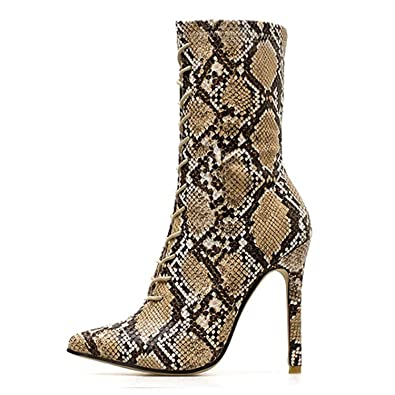 Amazon.com | This is not a harm. 2019 New Lace-Up Women Boots Snake Print Ankle Boots High Heels Fashion Ladies Sexy Chelsea Boots | Ankle & Bootie