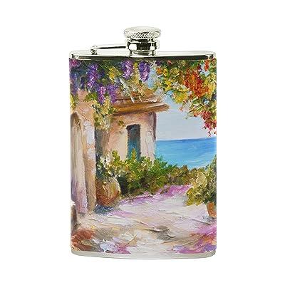 My Daily Portable en acier inoxydable PU Cuir Pocket Flasque Maison avec coloré Fleur Peinture Pichet 226,8gram