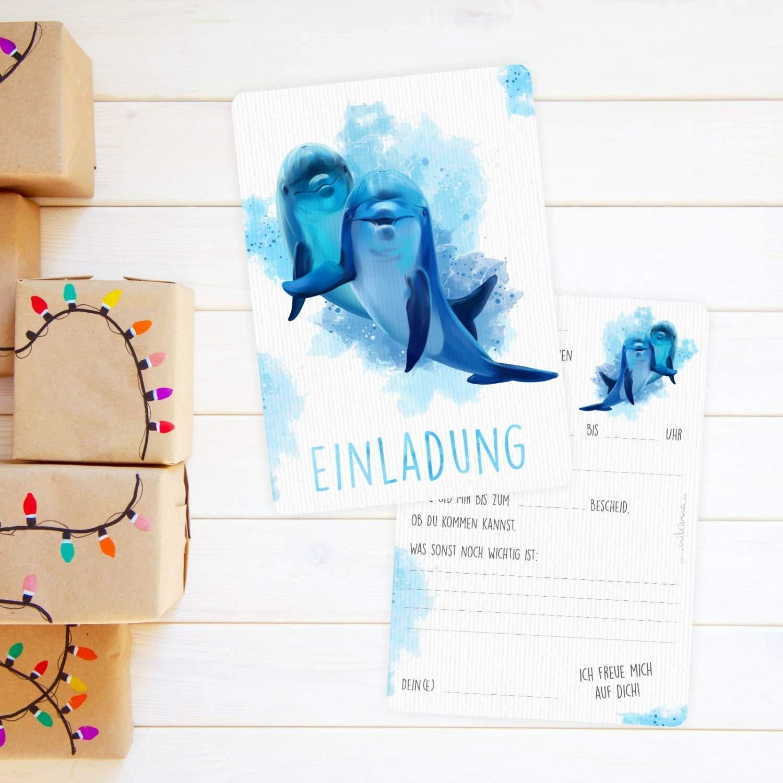 5 Briefumschl/ägen Kindergeburtstag M/ädchen blau t/ürkis wei/ß 5 Einladungskarten Delfine blau//wei/ß mit GLITZER inkl