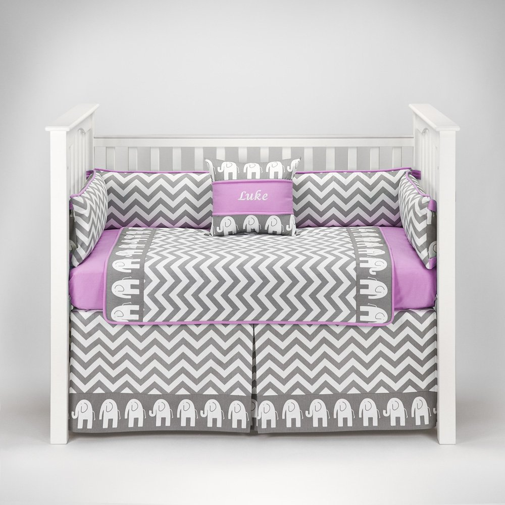 Pink and gray elephant crib bedding best elephant 2017 for Baby mobile pink and grey