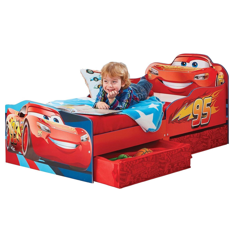 Kinderbett mit Schubladen Disney Cars 140x70cm - Kleinkinderbett mit stabilem Rausfallschutz TW24