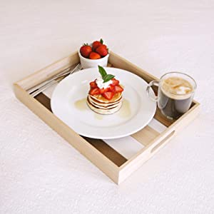 Mia Designs & Products Wooden Serving Tray for Ottoman Coffee Table, Food, Drinks and Breakfast + 2 Wooden Coasters - Tray with Handles Perfect for Gifts. Bandeja de Madera, Bandeja para Desayuno