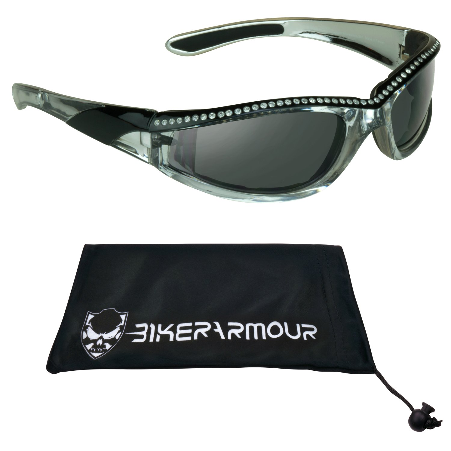 Chrome and Black Frame Anti Glare Mirrored Motorcycle Sunglasses with Rhinestones Foam Padded for Women