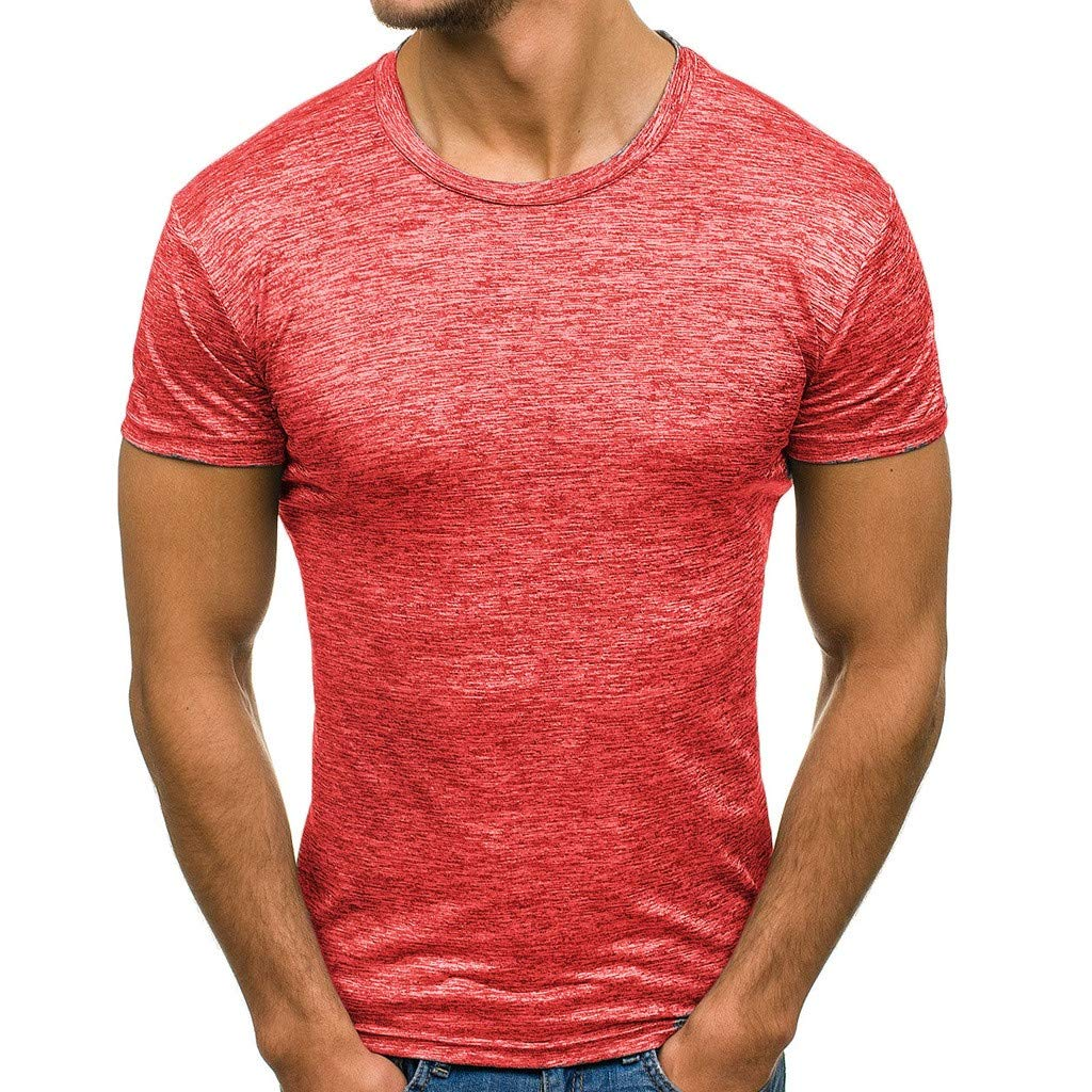 Winsummer Mens Summer Casual Slim Fit Short Sleeve T-Shirts Cotton Blended Soft Lightweight Tee Shirts Red