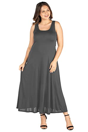 24seven Comfort Apparel Plus Size Sleeveless Scoop Neck Maxi Tank ...