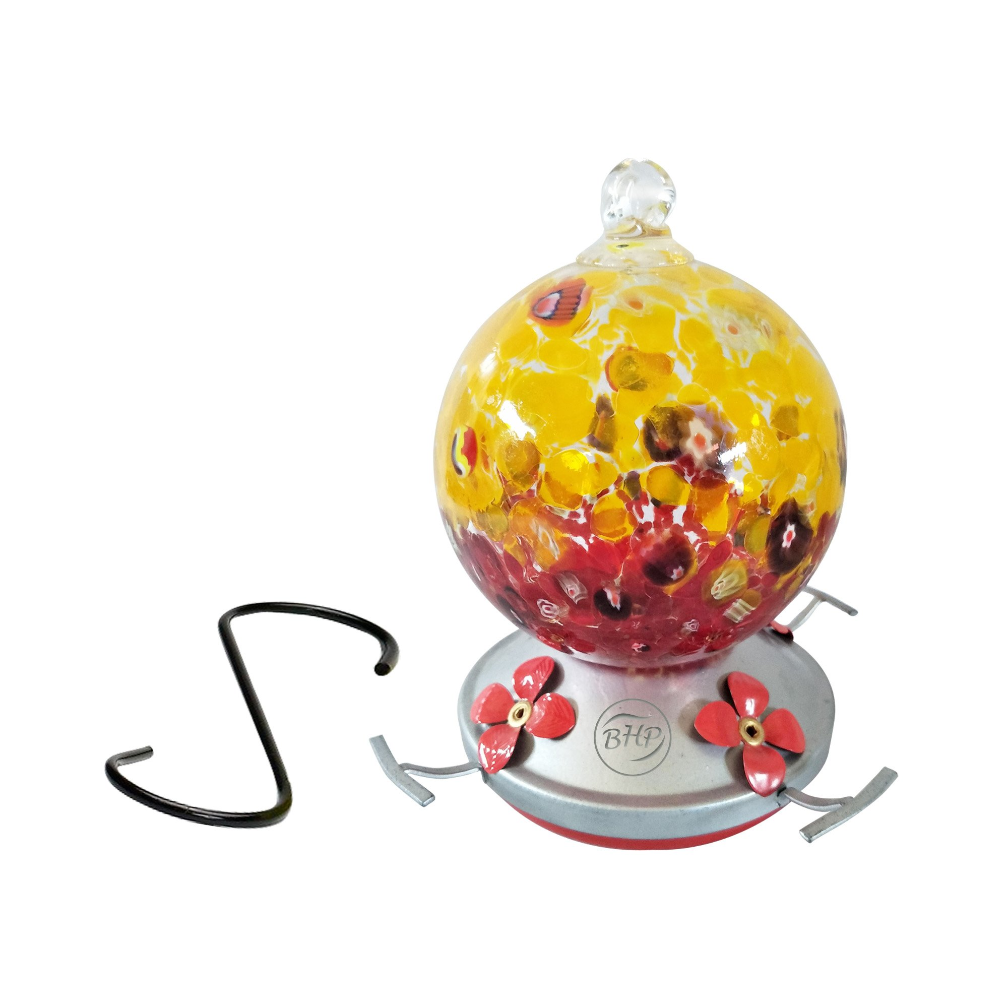 Best Home Products Hummingbird Feeder, Blown Glass, Cranberry Popcorn, 3 Cups