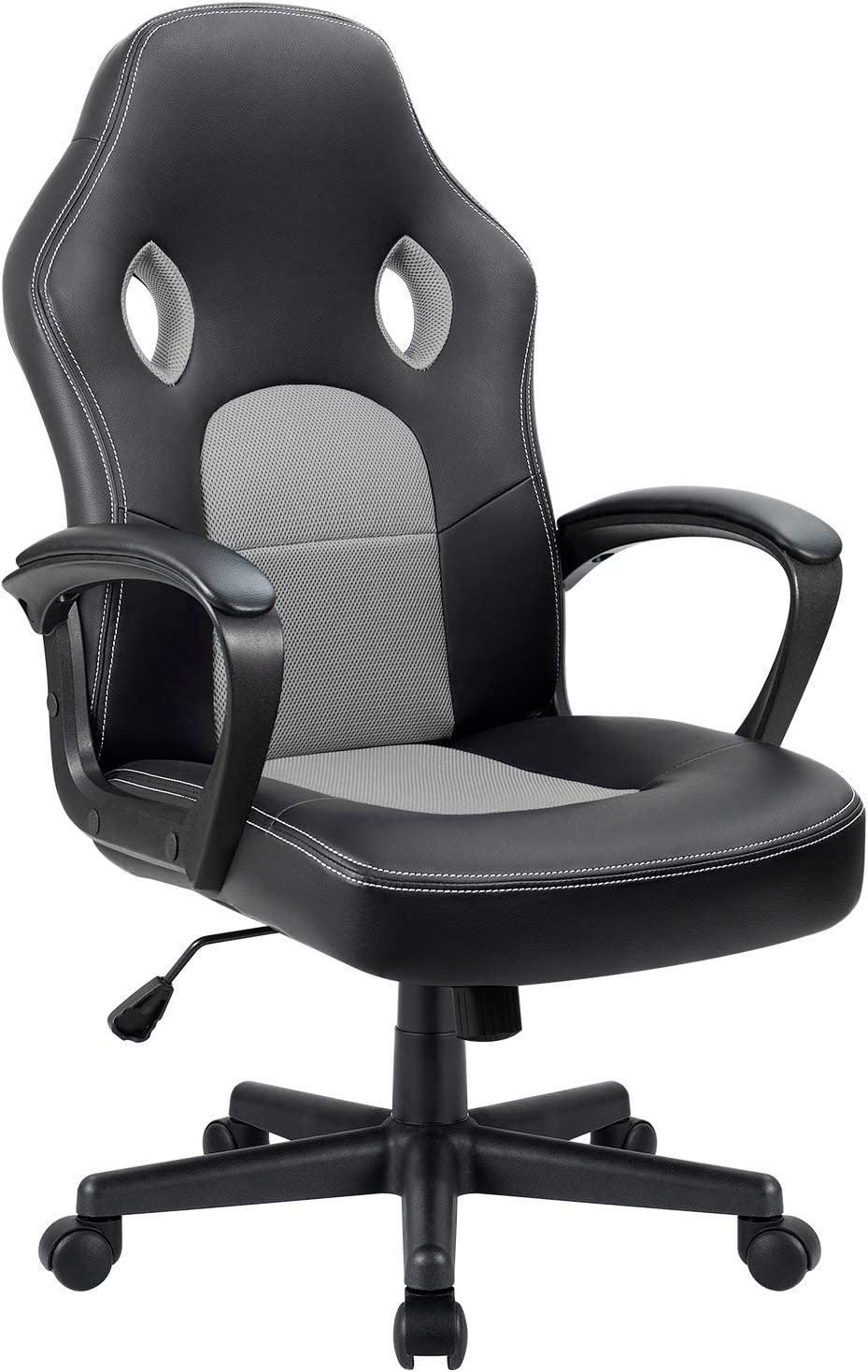 Furmax Office Chair Desk Leather Gaming Chair, High Back Ergonomic Adjustable Racing Chair,Task Swivel Executive Computer Chair Headrest and Lumbar Support (Grey)