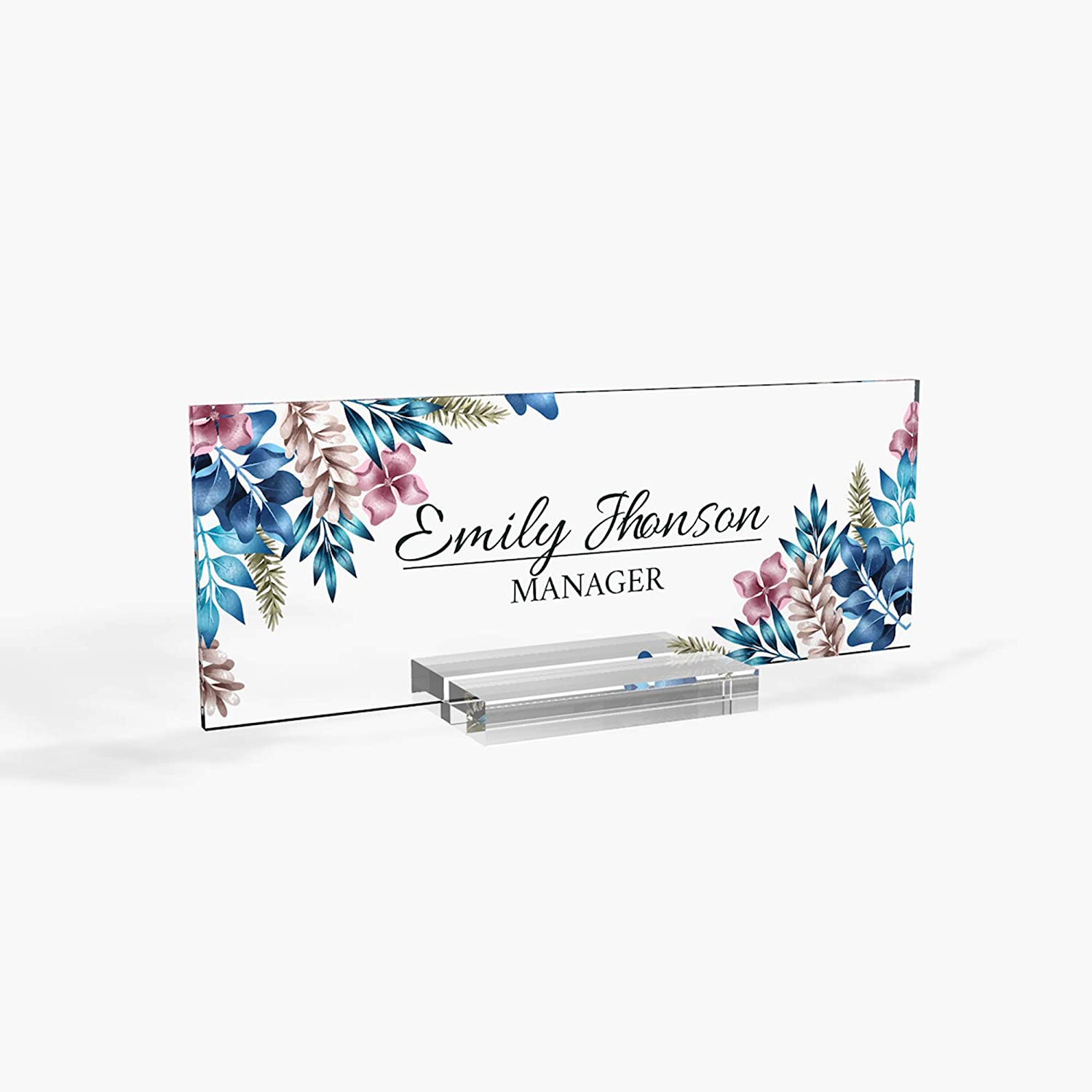 Personalized Desk Name Plate for Office Sign Modern Office Women Decor Home Desk Name Plate Teacher Desk Name Sign Holder Blue Galaxy Rose - (8