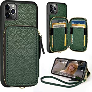 iPhone 11 Pro Wallet Case,ZVE iPhone 11 pro Case with Credit Card Holder Zipper Wallet Case with Wrist Strap Protective Purse Leather Case Cover for Apple iPhone 11 Pro 2019 5.8''- Midnight Green