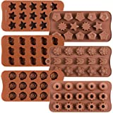 6 Pack Flower Heart and Star Shape Silicone Molds Chocolate Candy Mold, Danzig Silicone Mold for Wedding,Festival, Parties, D