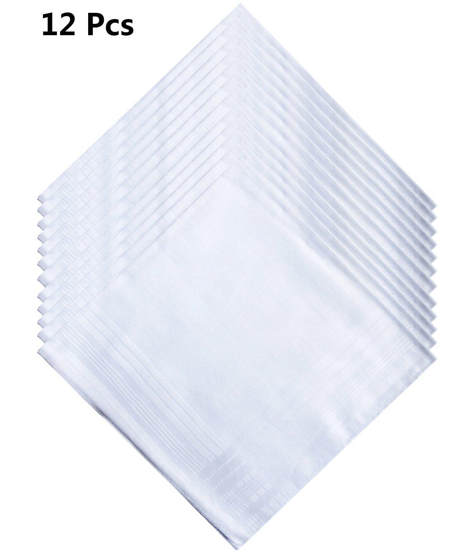 Pack 3/6/9/12PCS of Solid White Cotton Handkerchiefs for men