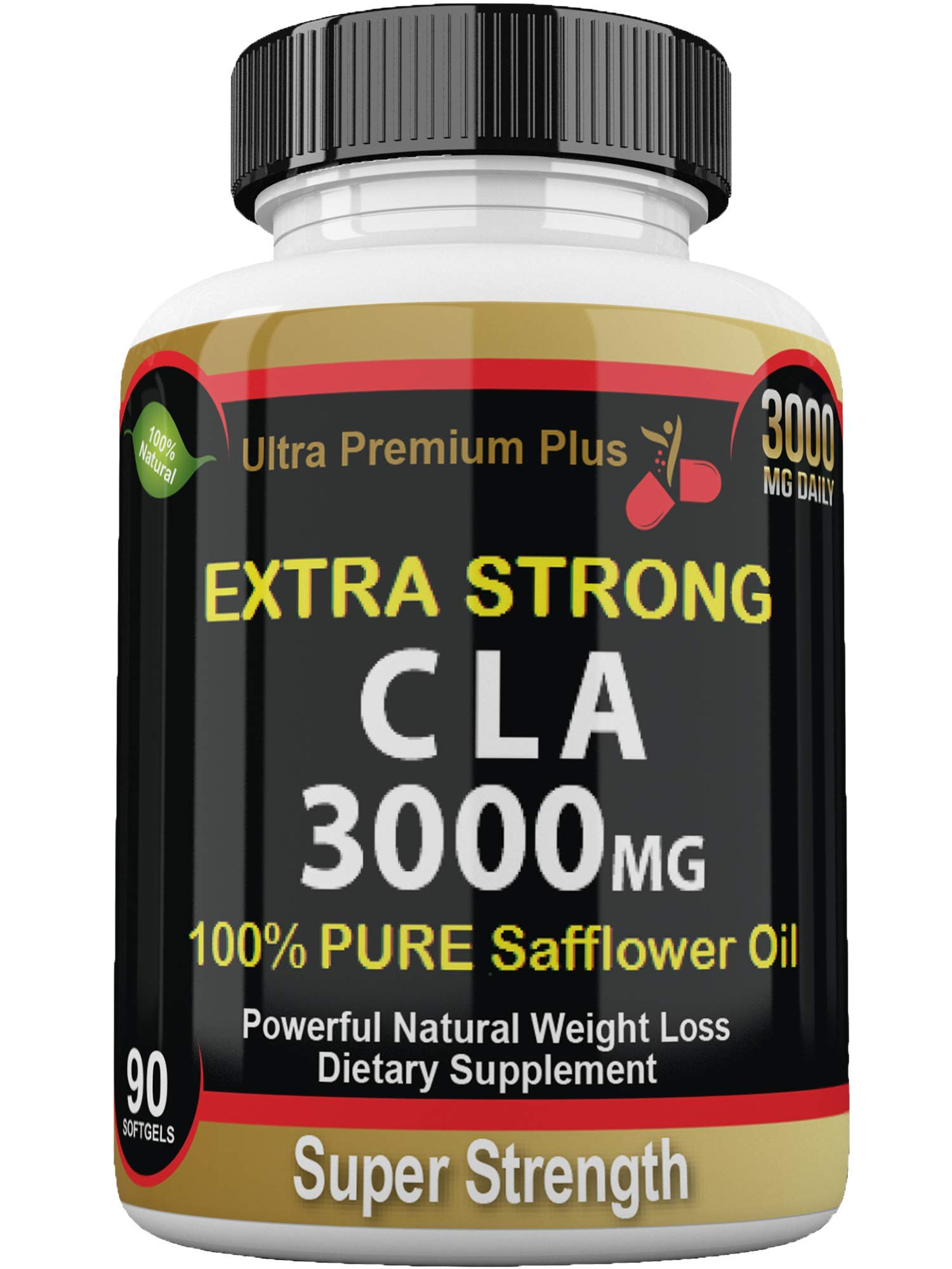 CLA 3000mg Super Strength Ultra Premium Plus. Highest Potency Conjugated Linoleic Acid Softgel. Pure 100% Safflower Oil, Best Weight Loss, Fat Burner, Body Enhancement, Supplement