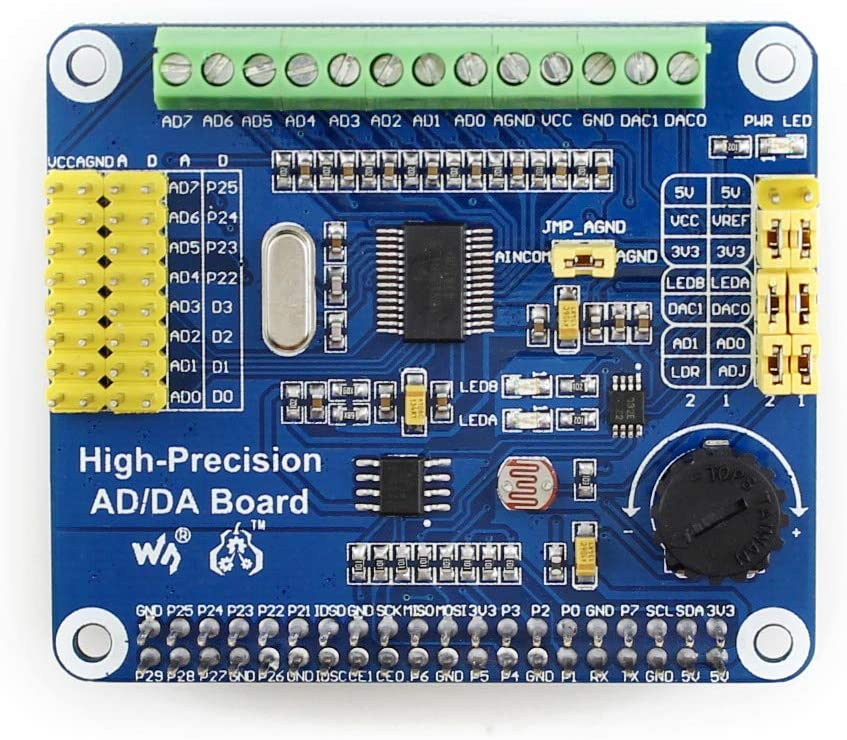 Waveshare Raspberry Pi AD//DA Expansion Sheild Board for Adding High-Precision AD//DA Functions to Raspberry Pi Onboard ADS1256 DAC8552 Sensor Interface