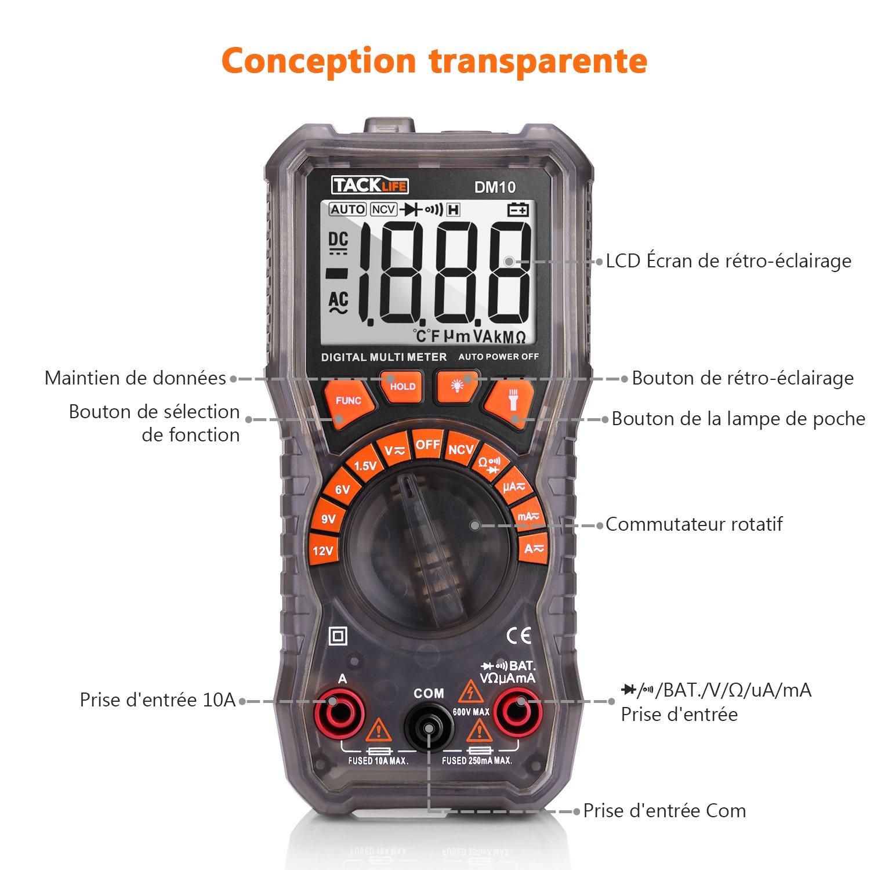 Gamme Automatique Continuit/é R/ésistance Voltm/ètre Fr/équence LCD Diod Double Fusibles NCV Tacklife DM02A Amp/èrem/ètre Test de Tension Courant AC/&DC Maintien de Valeur Multim/ètre Num/érique