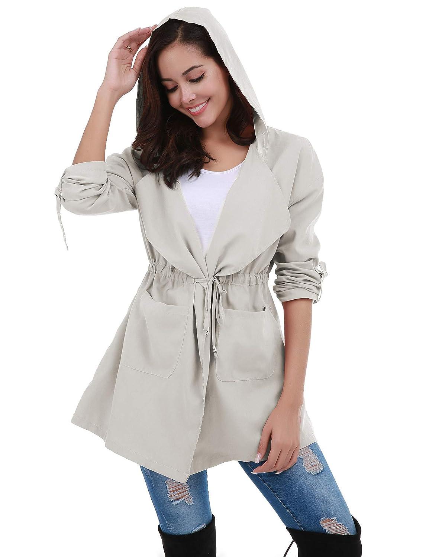 FISOUL Womens Lightweight Long Trench Coat Hooded Windbreaker Jacket with Belts
