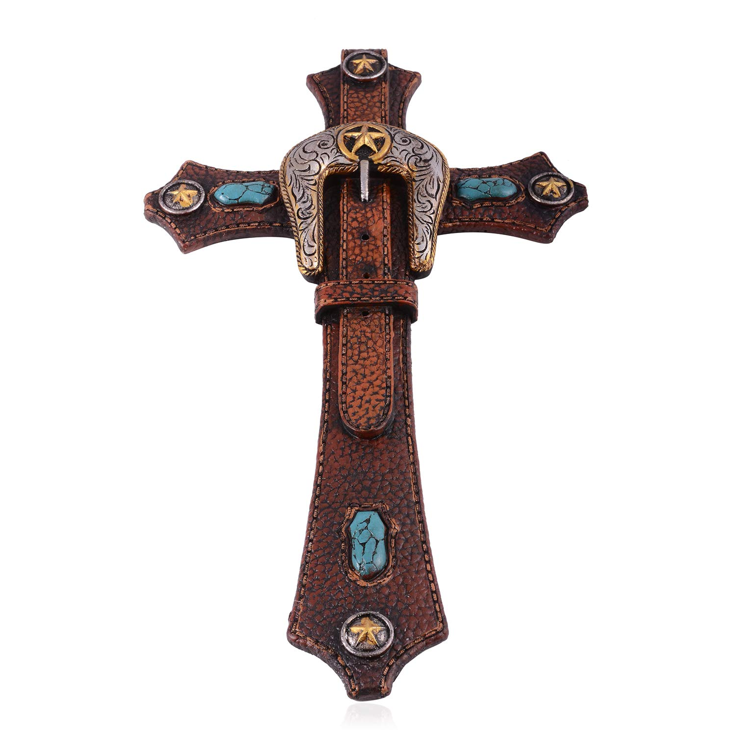 Homen Decor Western Pebble Design Buckle Belt Wall Cross 12