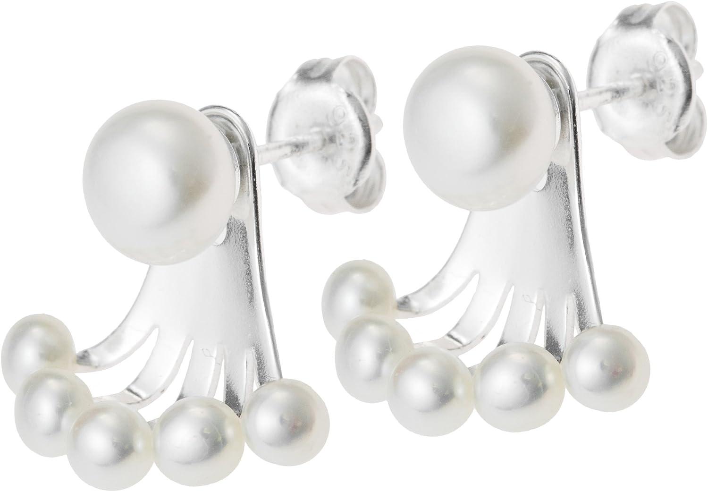 Pendientes redondos de plata de ley 925 con perlas de agua dulce 2 en 1 perno prisionero y chaqueta
