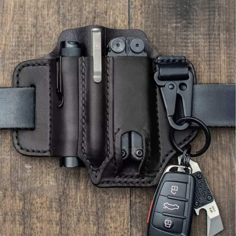 Organizador de bolsillo EDC con funda de cuero multiherramienta con porta llaves para cinturón y funda de herramienta múltiple con funda para linterna ...