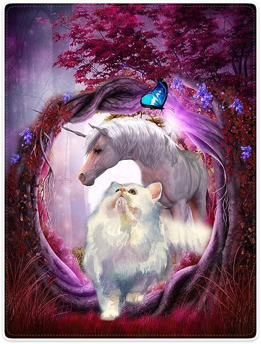 SXCHEN Blankets Soft Plush Super Warm Sofa Bed Blanket Wonderland White Unicorn Cat Butterfly 60x80 sixue chen.