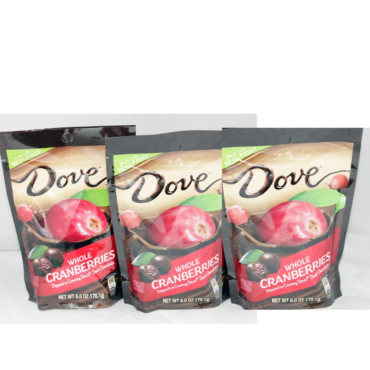 Dove Whole Dried Cranberries 3 PACK - Dipped in Creamy Dove Dark Chocolate: 3 Bags of 6 Oz Size