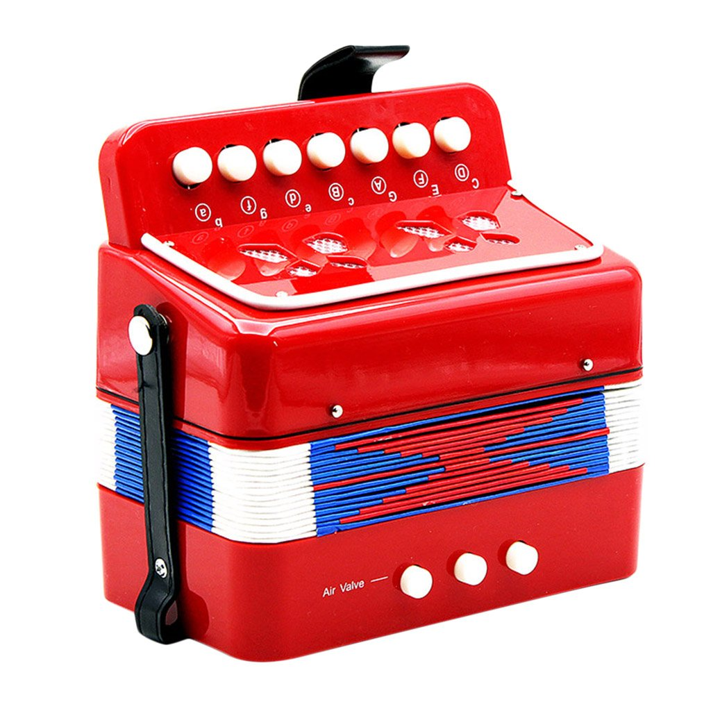 Baoblaze 7 Key Piano Accordion Toy Musical Instrument for Kids Toddlers Early Educational Toys