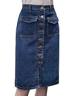 22103b9943 Tanming Women s Casual High Waist Button Front Midi Maxi Pencil Denim Jean  Skirt