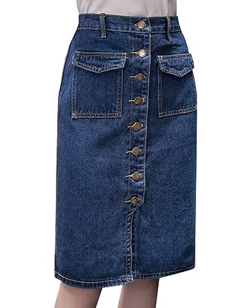 c097527f50 Tanming Women's Casual High Waist Button Front Midi Maxi Pencil Denim Jean  Skirt (X-