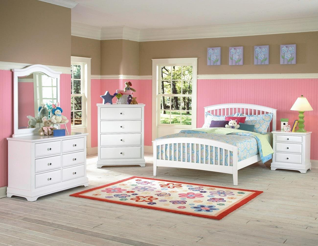 Beatrice Youth 4 Piece Twin Slat Bedroom Set in White Finish