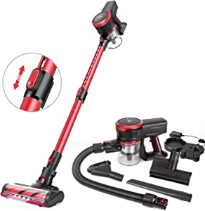 MOOSOO Cordless Vacuum Cleaner, 23Kpa Stick Handheld Vacuum with Brushless Motor Multi-attachments Detachable Battery Extension Wand Ultra-Quiet K17