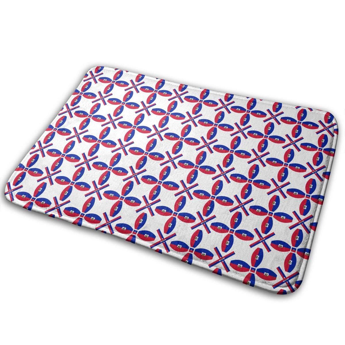 Uosliks Doormat Haiti Texture Flag Fashion Welcome Door Mats Dog Carpet Indoor Outdoor Shoe Sraper 19.7x31.5 inch