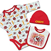 Gerber Chiefs Baby Team Spirit Creeper, Bib & Beanie