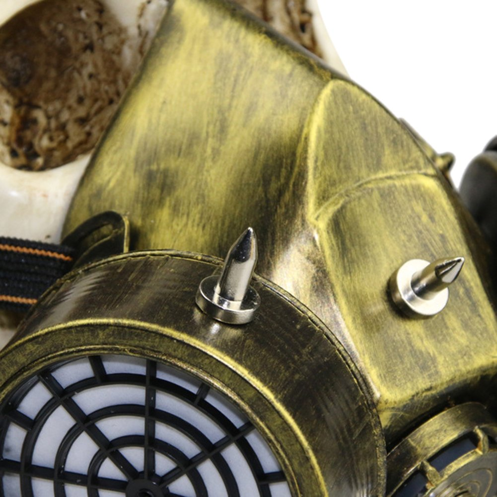 Halloween Masquerade Party Cosplay Fancy Gothic Steampunk Metal Rivet Skull Antigas Mask for Adult Women and Men by ShiningLove (Image #4)