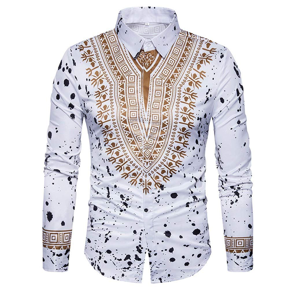 Men Long Sleeve Hipster Print T-Shirt Blouse Polo Slim Fit Shirts Tops (L, White)