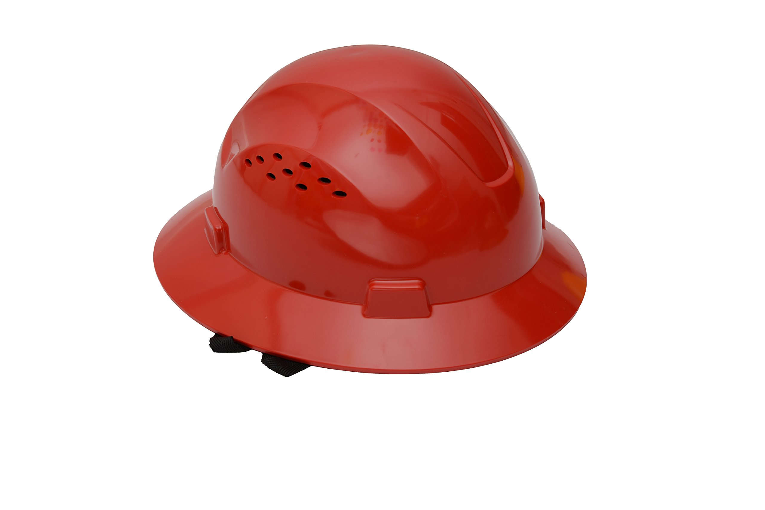 CJ Safety Full Brim Hard Hat with Fas-Trac Suspension - Vented (Red)