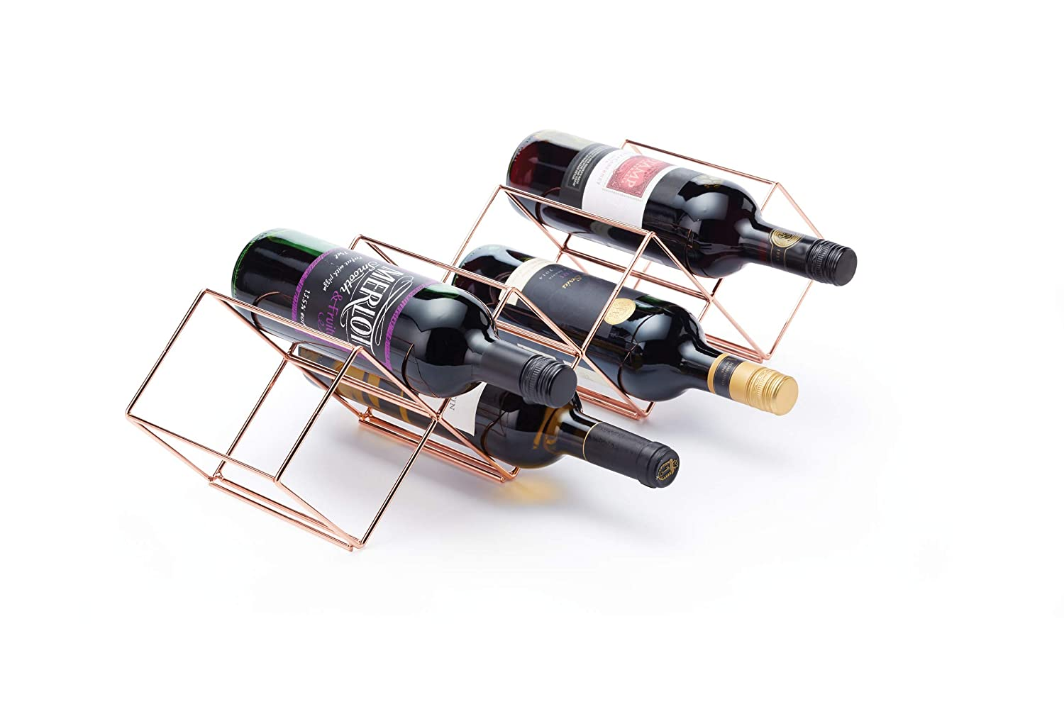 Kitchen Craft Wine Rack - Copper Finish - Stackable - Holds up to 7 Bottles 58 x 14.5 x 14.5cm