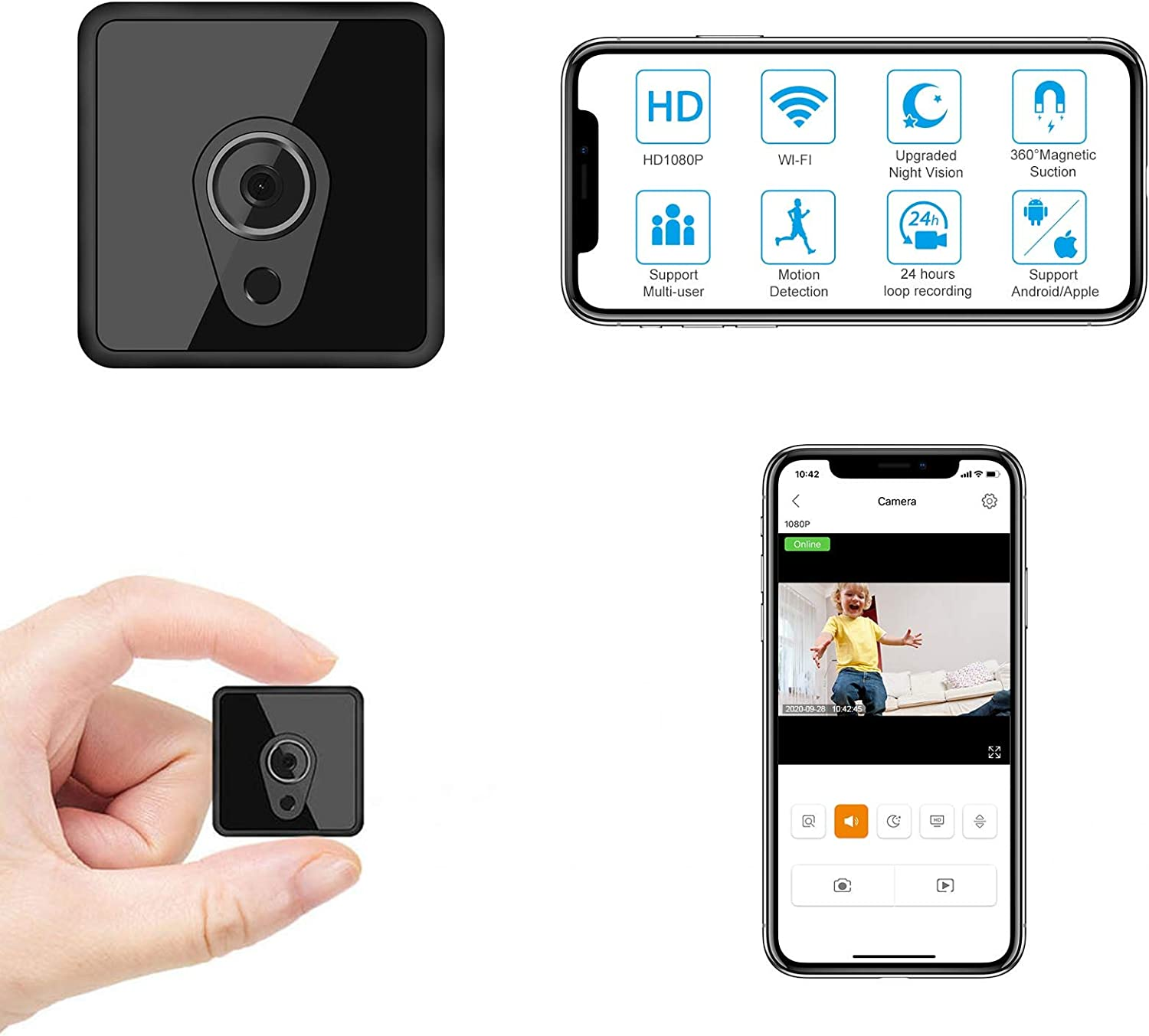 Jayol Mini WiFi Camera Wireless, HD 1080P Small Camera Live Streaming, Small Security Camera WiFi Camera with Night Vision Motion Activated Nanny Cam for Home/Outdoor (with Cell Phone APP)