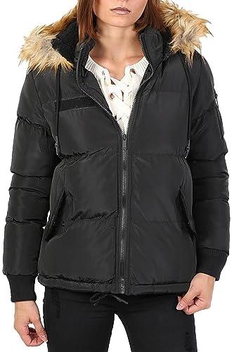 PILOT® guarnecido de piel sintética acolchada chaqueta con capucha