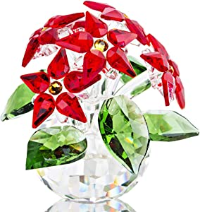 Crystal Poinsettia Figurines Ornament Home Decoration Collection (Red 6pcs Flower)