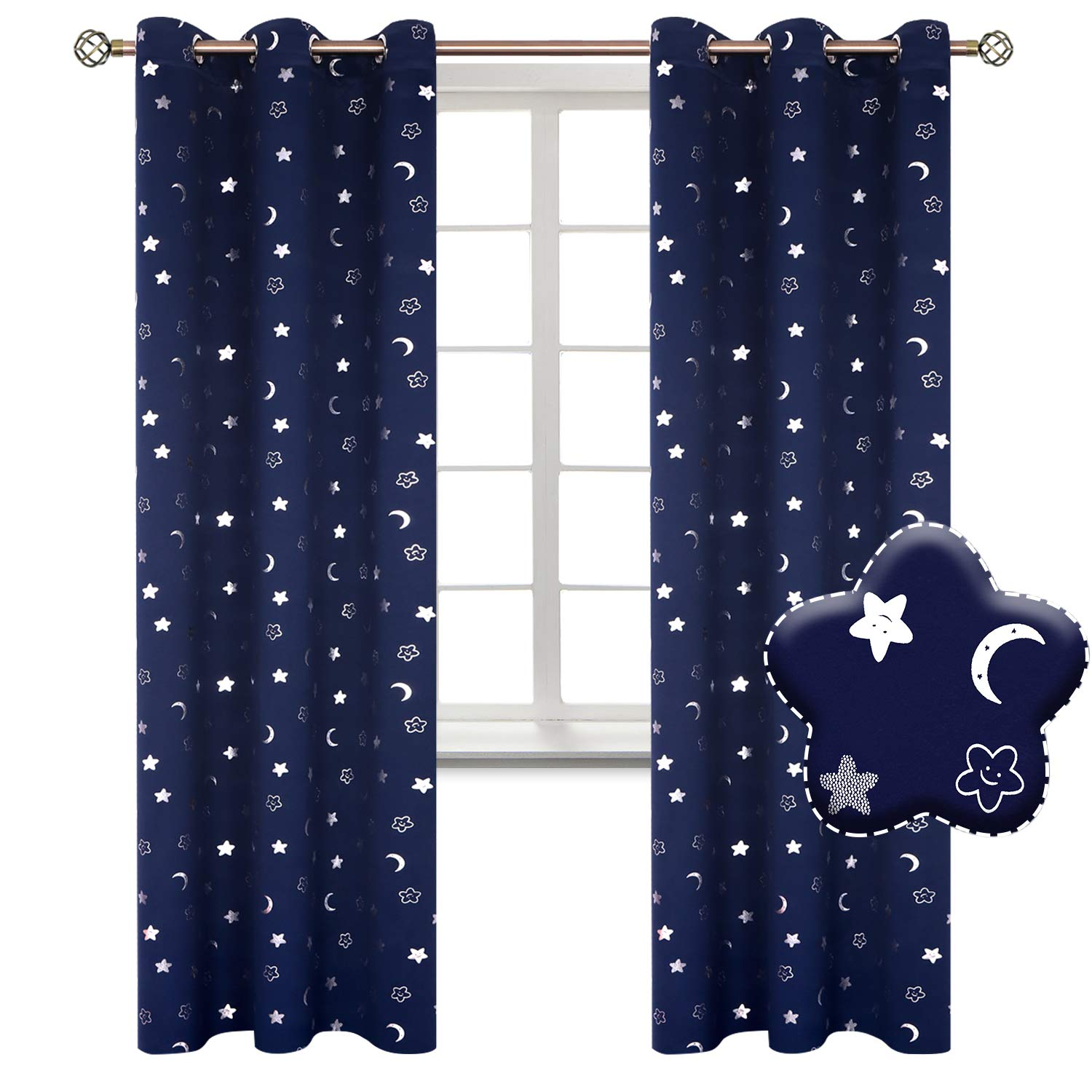 BGment Moon and Stars Blackout Curtains for Boys Bedroom, Grommet Thermal Insulated Room Darkening Printed Kids Curtains, 2 Panels of 42 x 84 Inch, Navy by BGment