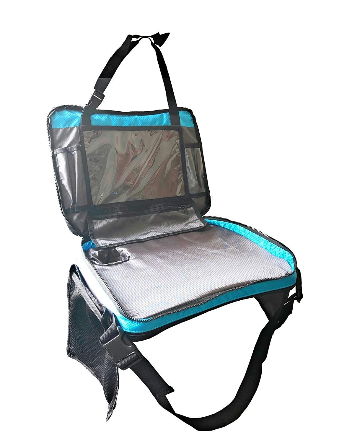 Kids Travel Tray with Versatile Detacheable Top /& Bottom Parts for Best fit Carry Bag and Large Tablet Holder for Toddlers Odorless Foam Insert Lap Table 4 in 1 Car Seat Organizer