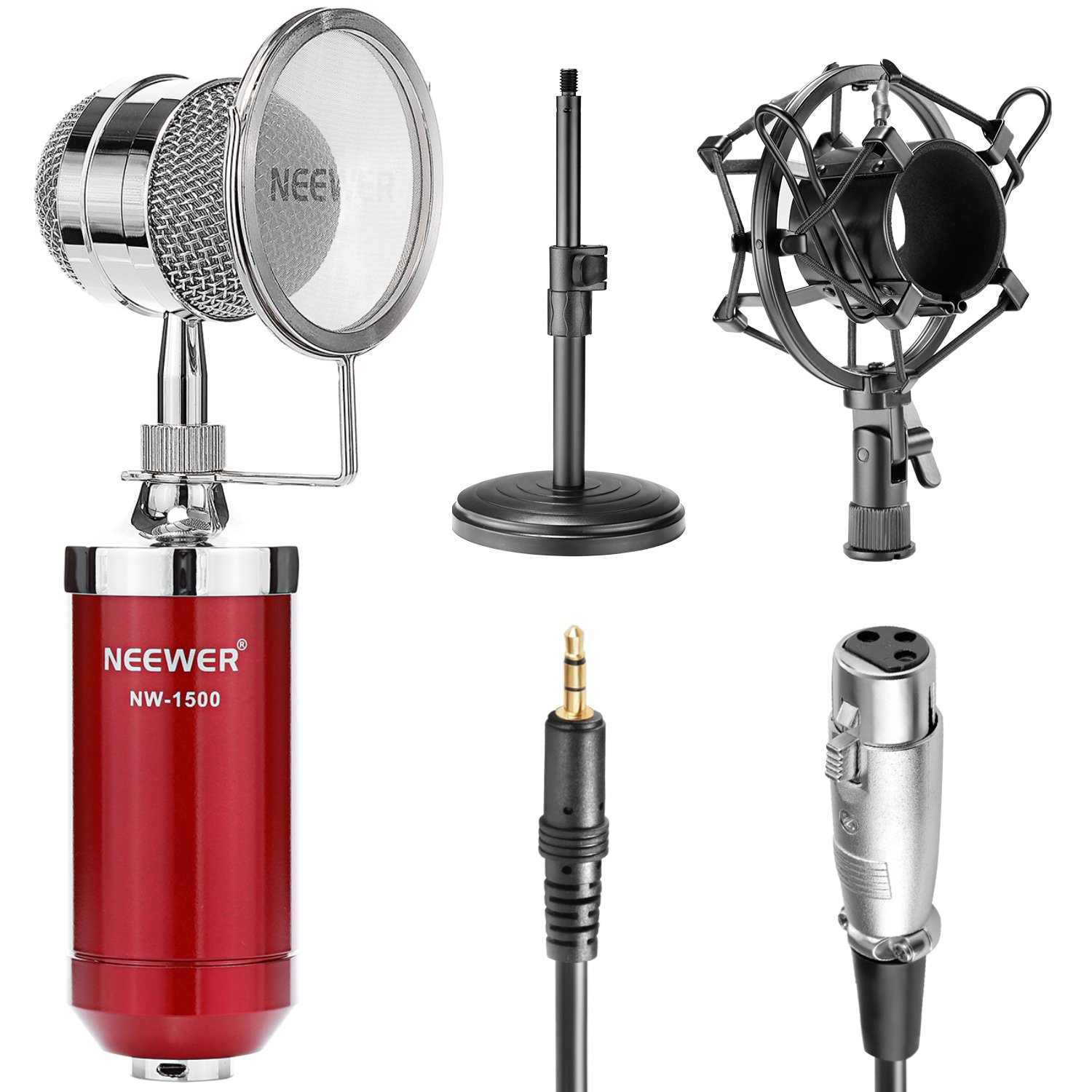 Neewer® White NW-1500 Desktop Broadcast & Recording Condenser Microphone with 3.5mm Male to XLR Female Cable, Adjustable Iron Desktop Mic Stand, Metal Shock Mount and Build-in Pop Filter