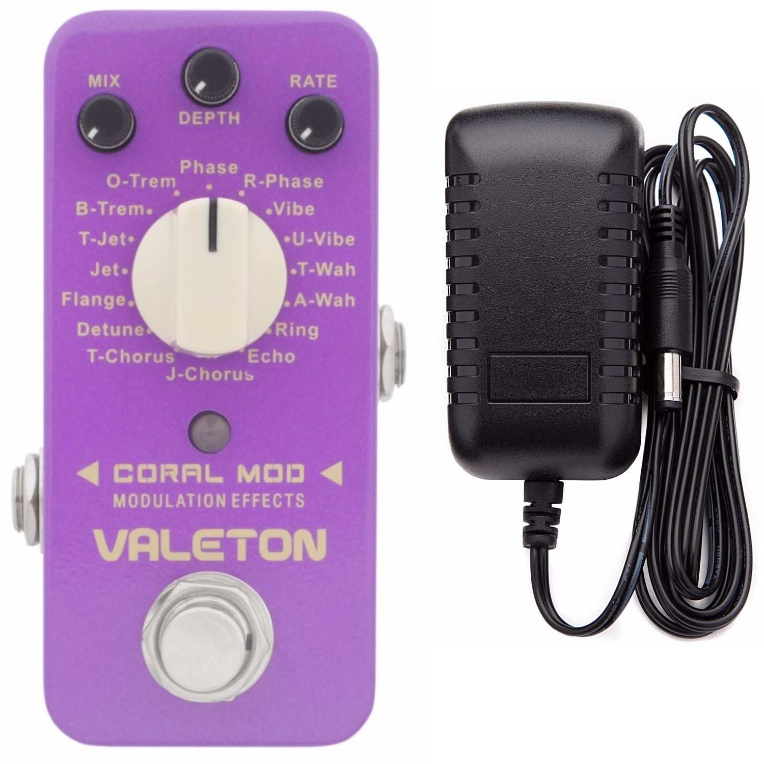 Valeton Coral Mod Digital Modulation Effects Pedal (16 Modes) Plus Valeton 9V DC 1 Amp Power Supply